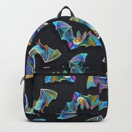 Psychedelic Bats on Black Backpack