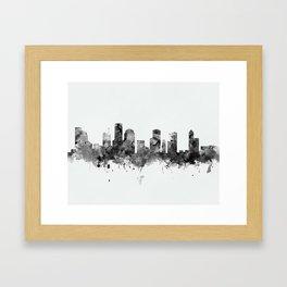 Houston Skyline Black and White Framed Art Print