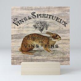 vintage typography fall harvest autumn woodland french hare rabbit Mini Art Print