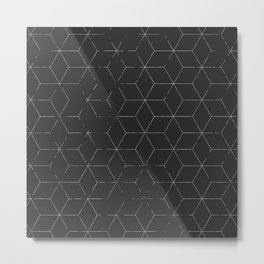 Faded Black and White Cubed Abstract Metal Print