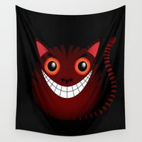 cheshire cat Wall Tapestries featuring Cheshire cat by pouki