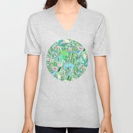 Improbable Botanical with Dinosaurs - soft pastels Unisex V-Neck
