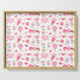 Cute Couple Heart and Love Pattern Serving Tray