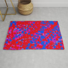 blue on red, circles Rug