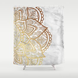 Mandala - Gold & Marble Shower Curtain