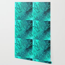 Monochrome Leaf Arrangement (Teal) Wallpaper