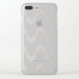 Simply Deconstructed Chevron White Gold Sands on White Clear iPhone Case