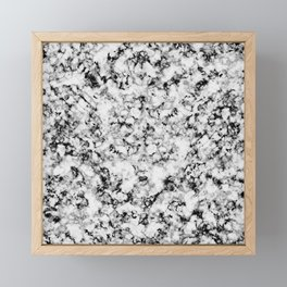 Black and White Veined Faux Marble Repeat Framed Mini Art Print