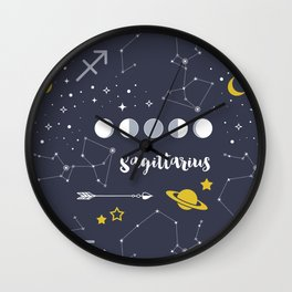 Sagittarius Zodiac Sign Pattern Wall Clock