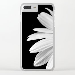 Half Daisy in Black and White Clear iPhone Case