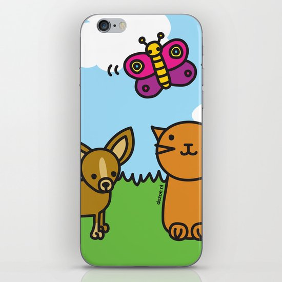 Butterfly, Cat and Dog iPhone & iPod Skin