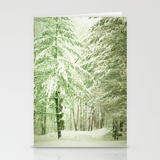 Winter Pine Trees Stationery Cards