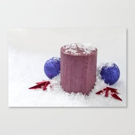Christmas Candle Snow and Baubles Canvas Print