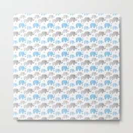 Blue Gray Elephant Baby Boy Nursery Metal Print