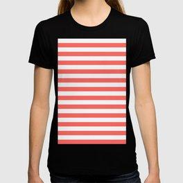 Narrow Horizontal Stripes - White and Pastel Red T-shirt