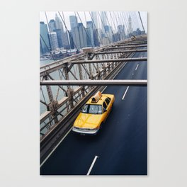 New York Cab with Twin Towers in background over Brooklyn Bridge Canvas Print