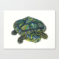 turtle Canvas Prints featuring Turtle by Aina Serratosa