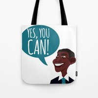 obama Tote Bags featuring OBAMA by artic