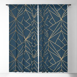 Benjamin Moore Hidden Sapphire Gold Geometric Pattern With White Shimmer Blackout Curtain