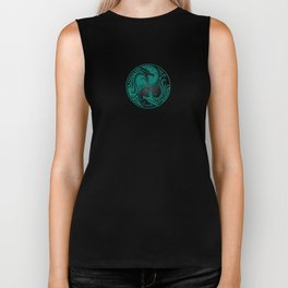 Teal Blue and Black Yin Yang Dragons Biker Tank