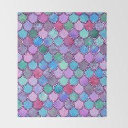 Colorful Pink Glitter Mermaid Scales Throw Blanket