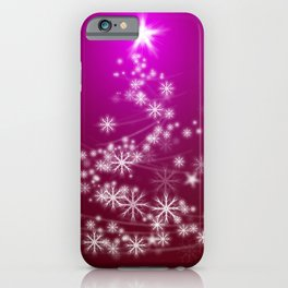 Whimsical Glowing Christmas Tree with Snowflakes in Red Bokeh iPhone Case