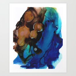 Brown Blue Abstract Art Print