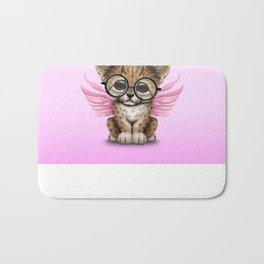 Cheetah Cub with Fairy Wings Wearing Glasses on Pink Bath Mat