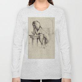 'The Unwinding' Charcoal Drawing Nude woman drinking Wine Long Sleeve T-shirt