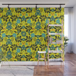 Bright Yellow, Red, Turquoise & Navy Blue Floral Pattern Wall Mural