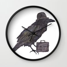 Raven, goth, goth art, business man raven, office decor, gift for boss like no other Wall Clock