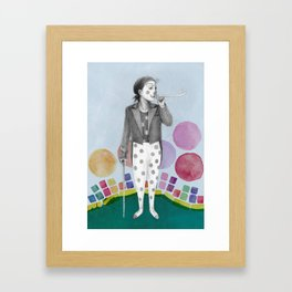 clown and lots of dots Framed Art Print