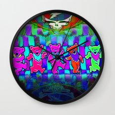 Dancing Bears #4 Grateful Dead Jerry Garcia Tribute Vibrant Psychedelic Characters Wall Clock