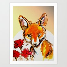 Fox in Sunset Art Print