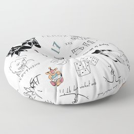 Halsey's Tattoos Floor Pillow