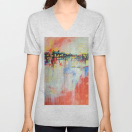 on the water,  expressive landscape, abstract Unisex V-Neck