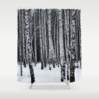 birch Shower Curtains featuring Birch Trees by Lostfog Co.
