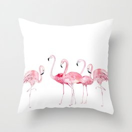 Flamingo Farm- Tropical Animal Bird World Throw Pillow