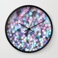 tiffany Wall Clocks featuring TIFFANY SNOW by Monika Strigel
