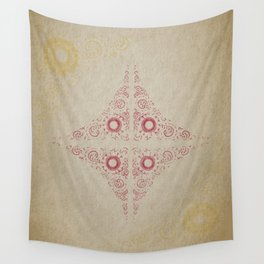 Pata Pattern in Red & Gold Wall Tapestry