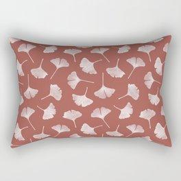 Ginkgo Biloba Pattern on Terracota Background Rectangular Pillow