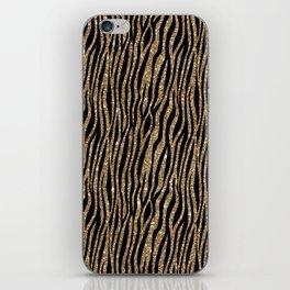 Black & Gold Glitter Animal Print iPhone Skin