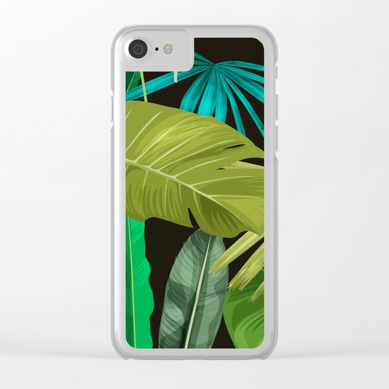 Tropical Leaf Pattern Clear iPhone Case