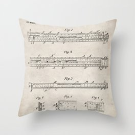 Engineering Patent - Engineers Slide Rule Art - Antique Throw Pillow