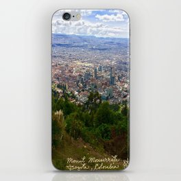 Mount Monserrate, with a 10,000 ft view of Bogota Colombia iPhone Skin