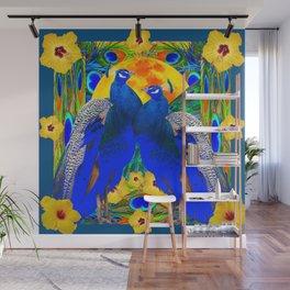 TEAL YELLOW HIBISCUS & BLUE PEACOCKS ART Wall Mural