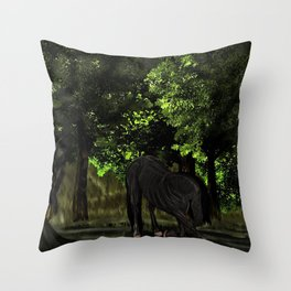 Horse in Forest - Dressage Throw Pillow