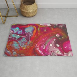 Fluid Nature - Red Nebula - Abstract Acrylic Art Rug