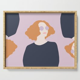 Orange Hair Girl // Minimalist Indie Rock Music Festival Lavender Sunglasses by Mighty Face Designs Serving Tray