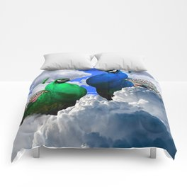 GREEN PEACOCK & BLUE PEACOCK CLOUDS MODERN ART Comforters